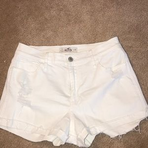 Hollister High-Rise White Jean Shorts